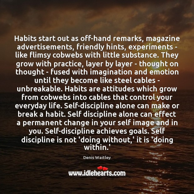 Habits start out as off-hand remarks, magazine advertisements, friendly hints, experiments – Denis Waitley Picture Quote