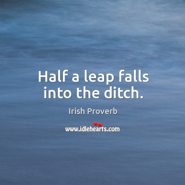 Image, Half a leap falls into the ditch.