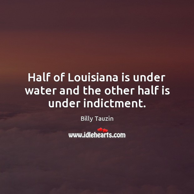 Image, Half of Louisiana is under water and the other half is under indictment.