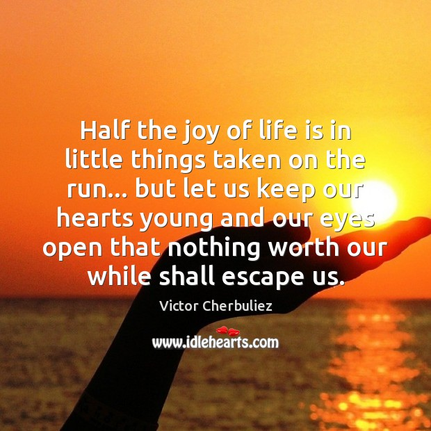Half the joy of life is in little things taken on the Image