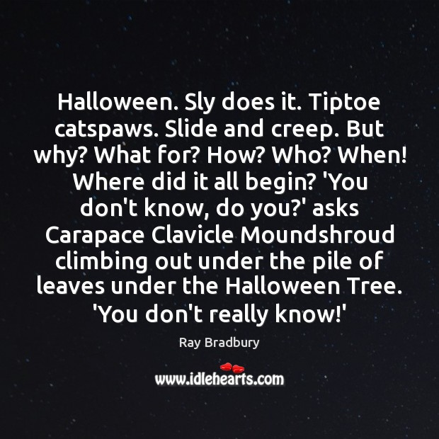 Halloween. Sly does it. Tiptoe catspaws. Slide and creep. But why? What Halloween Quotes Image