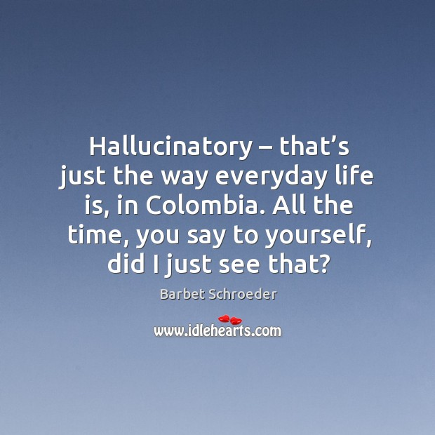 Image, Hallucinatory – that's just the way everyday life is, in colombia. All the time, you say to yourself, did I just see that?
