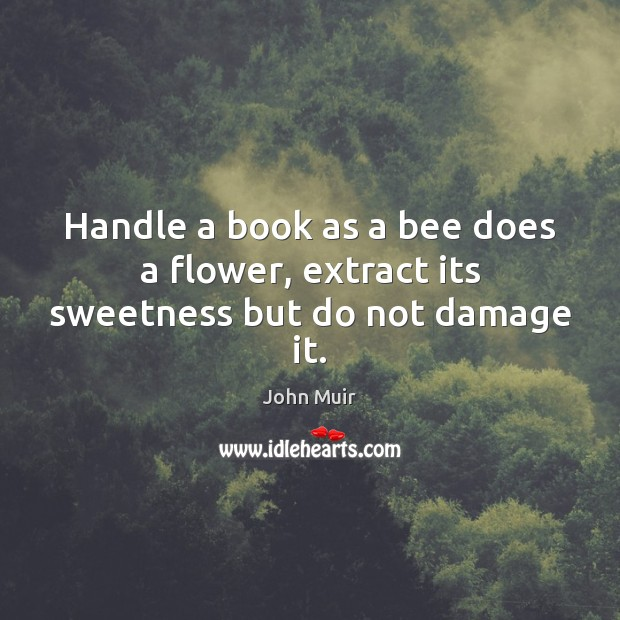 Image, Handle a book as a bee does a flower, extract its sweetness but do not damage it.