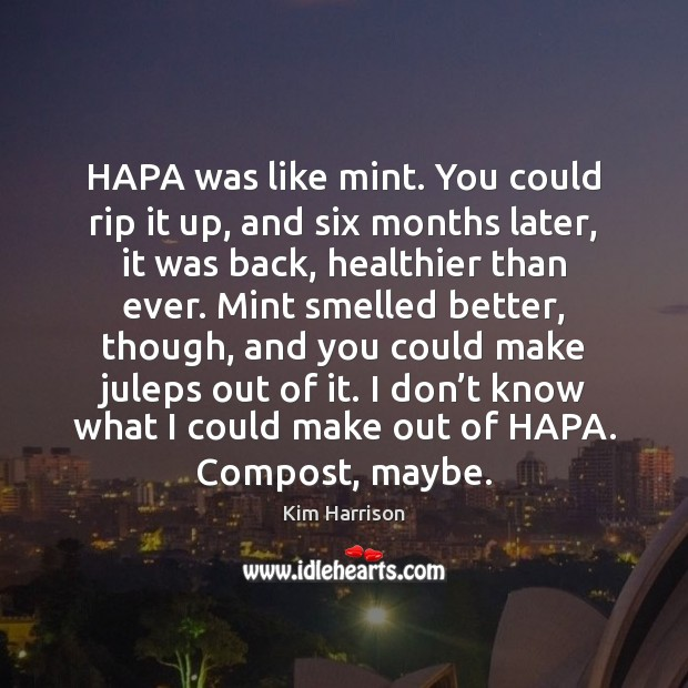 Image, HAPA was like mint. You could rip it up, and six months