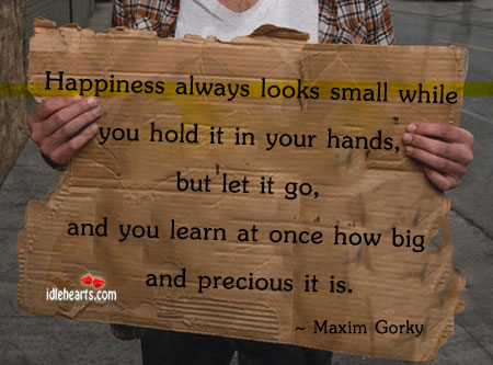 Happiness Always looks Small While You hold It…