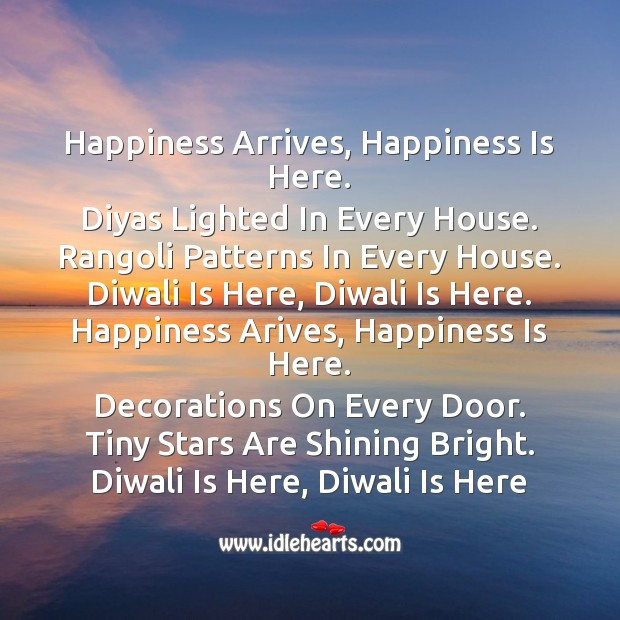 Happiness arrives, happiness is here Diwali Messages Image