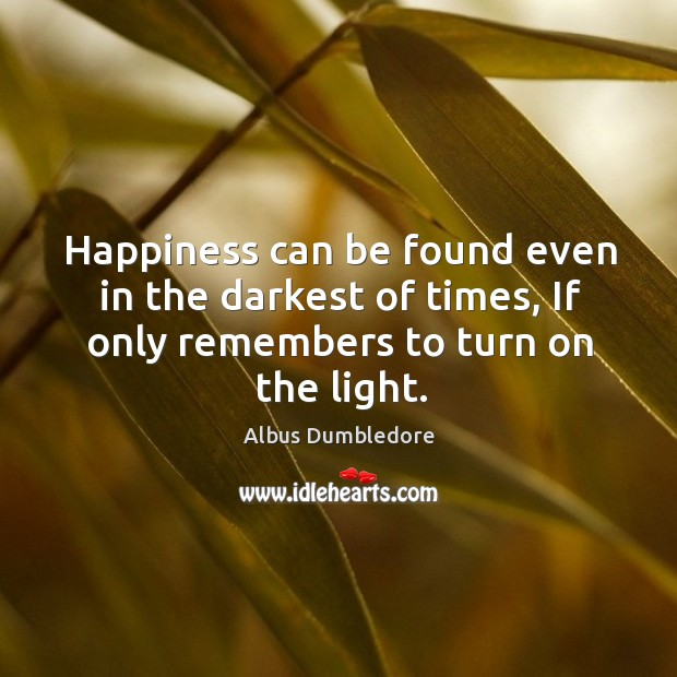 Image, Happiness can be found even in the darkest of times, if only remembers to turn on the light.