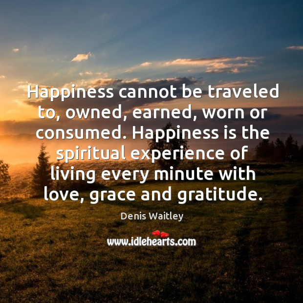 Happiness cannot be traveled to, owned, earned, worn or consumed. Image
