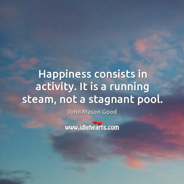 Happiness consists in activity. It is a running steam, not a stagnant pool. John Mason Good Picture Quote