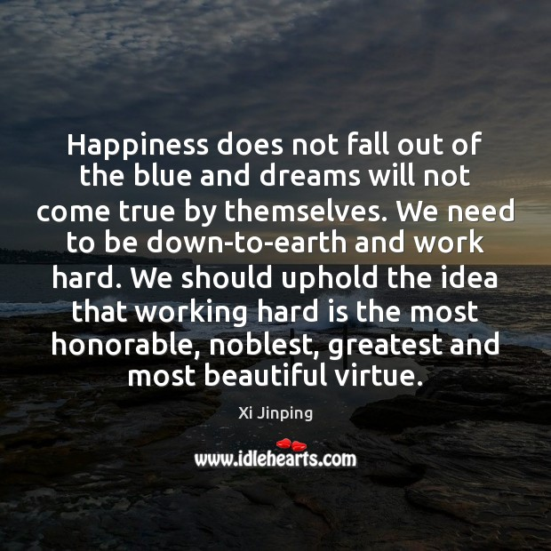 Happiness does not fall out of the blue and dreams will not Image