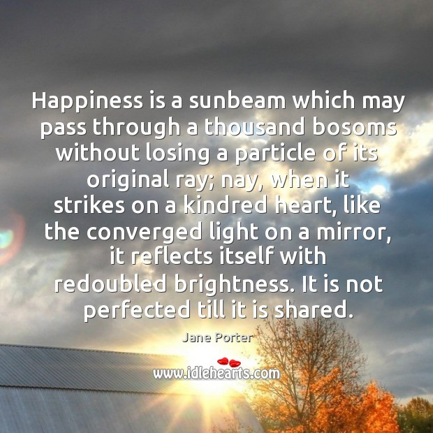 Happiness is a sunbeam which may pass through a thousand bosoms without losing a particle Jane Porter Picture Quote
