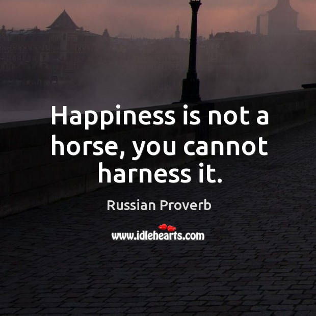 Image, Happiness is not a horse, you cannot harness it.