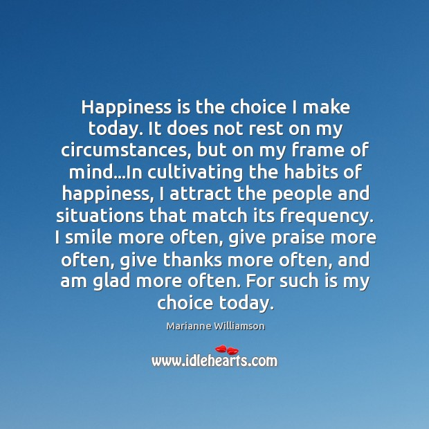 Image, Happiness is the choice I make today. It does not rest on