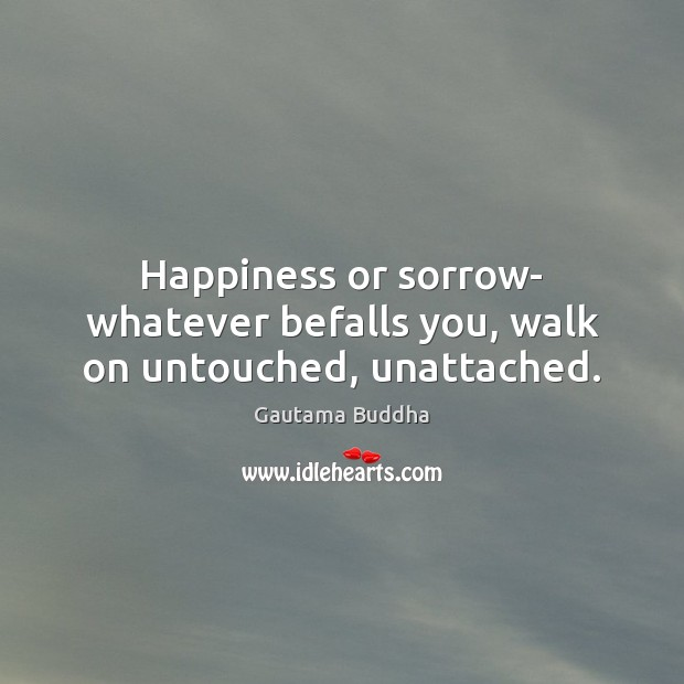 Image, Happiness or sorrow- whatever befalls you, walk on untouched, unattached.