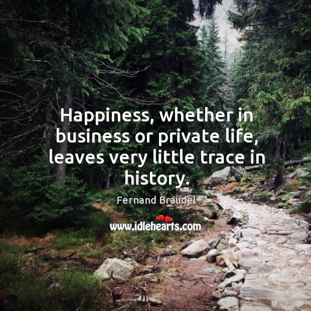 Happiness, whether in business or private life, leaves very little trace in history. Image