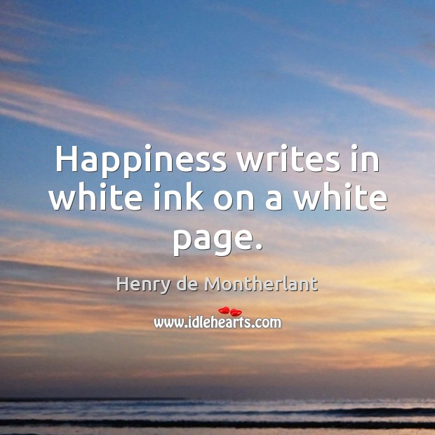 Happiness writes in white ink on a white page. Image