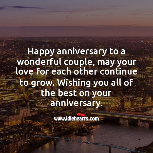 Happy anniversary to a wonderful couple. Image