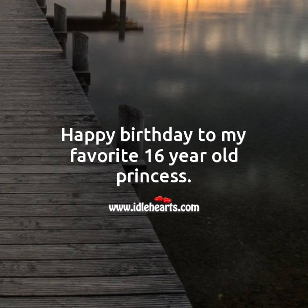Happy birthday to my favorite 16 year old princess. Sweet 16 Birthday Messages Image