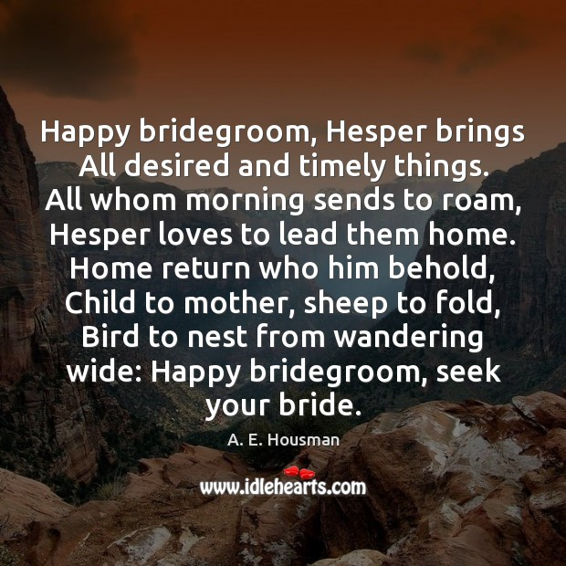 Image, Happy bridegroom, Hesper brings All desired and timely things. All whom morning
