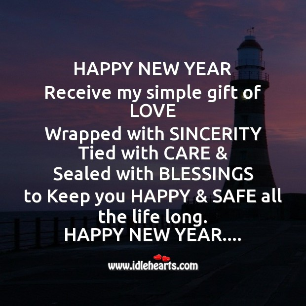 Happy new year receive my simple gift of love Happy New Year Messages Image