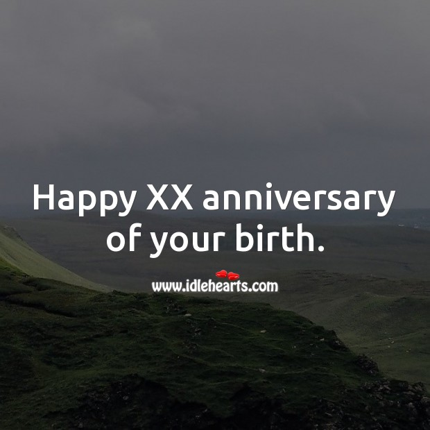 Happy XX anniversary of your birth. Age Birthday Messages Image