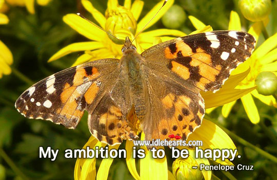 My Ambition Is To Be Happy.