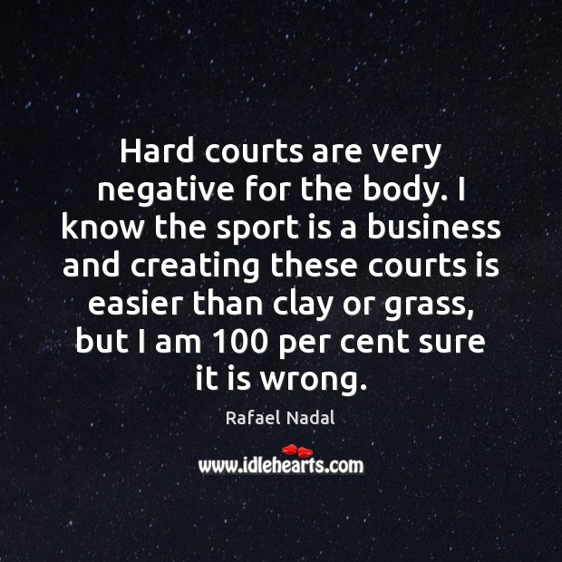 Hard courts are very negative for the body. I know the sport Rafael Nadal Picture Quote