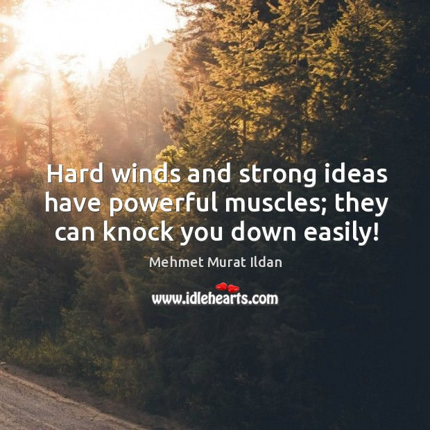 Image, Hard winds and strong ideas have powerful muscles; they can knock you down easily!