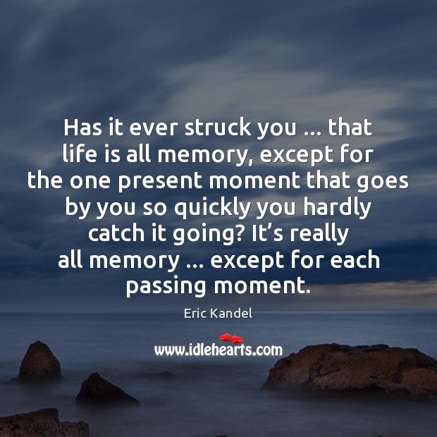 Image, Has it ever struck you … that life is all memory, except for