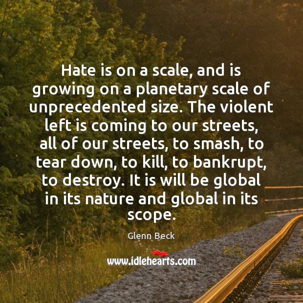 Hate is on a scale, and is growing on a planetary scale Image