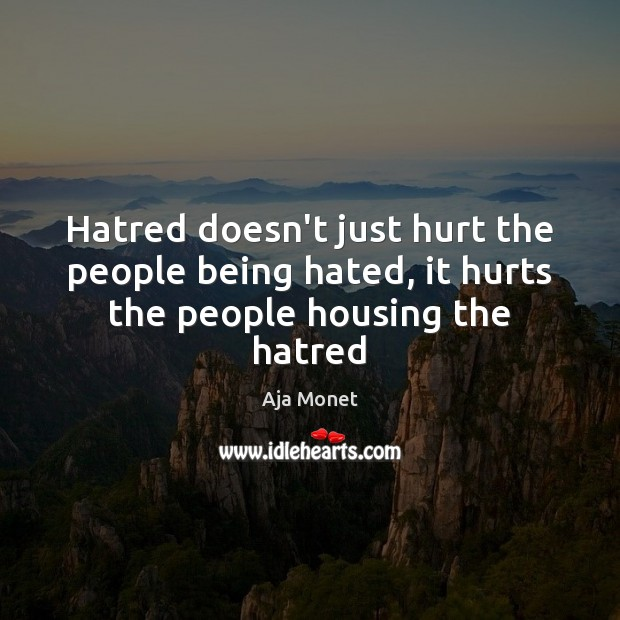 Hatred doesn't just hurt the people being hated, it hurts the people housing the hatred Image
