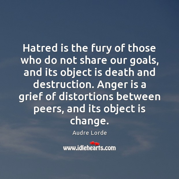 Hatred is the fury of those who do not share our goals, Audre Lorde Picture Quote