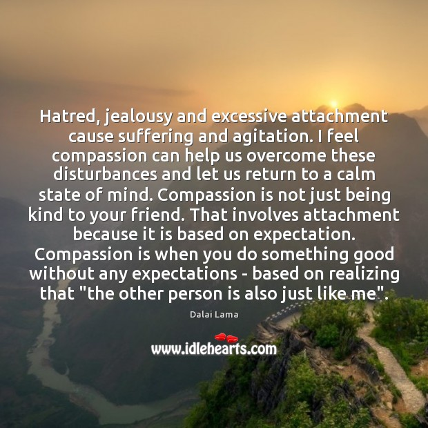 Hatred, jealousy and excessive attachment cause suffering and agitation. I feel compassion Image