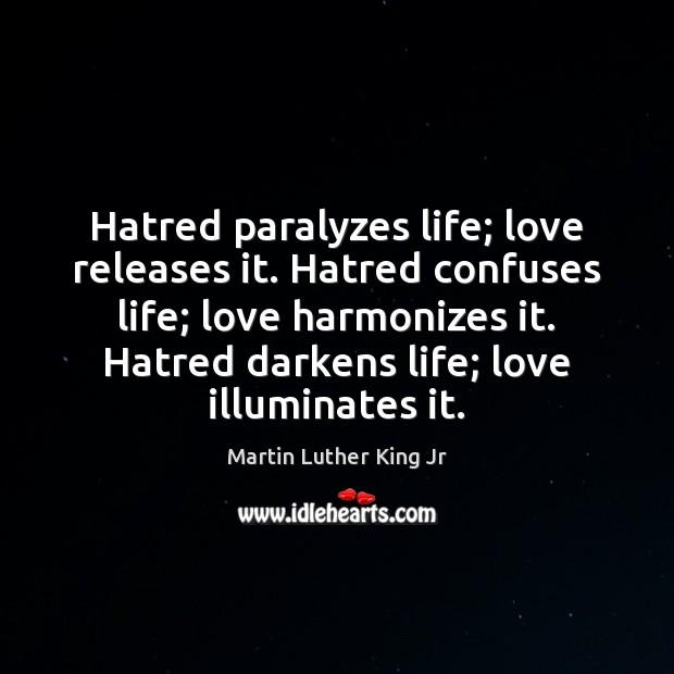 Hatred paralyzes life; love releases it. Hatred confuses life; love harmonizes it. Image