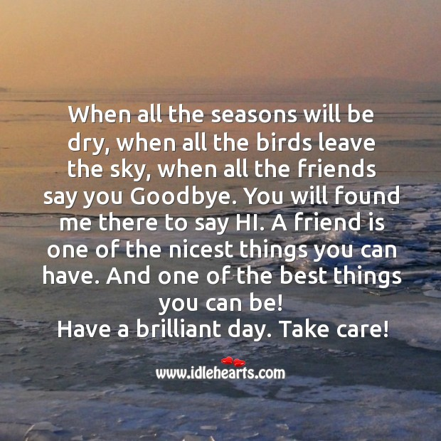 Have a brilliant day. Take care, my friend! Goodbye Quotes Image