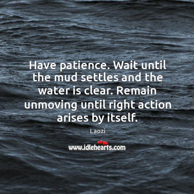 Image, Have patience. Wait until the mud settles and the water is clear.