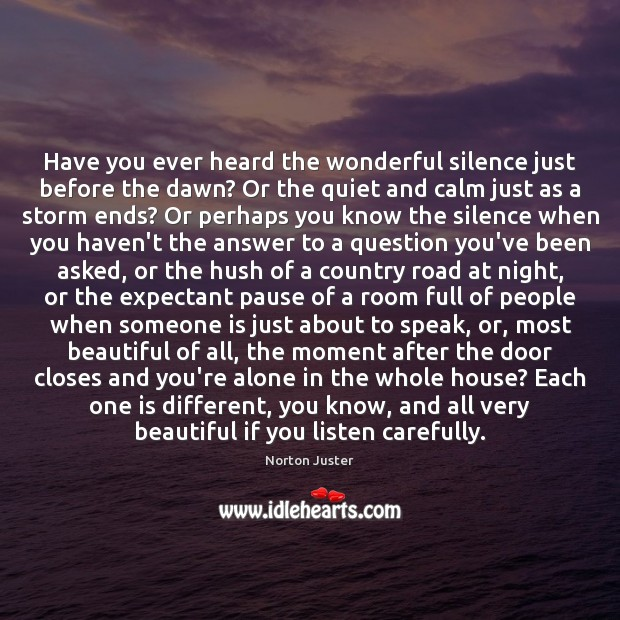 Image, Have you ever heard the wonderful silence just before the dawn? Or