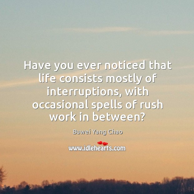 Have you ever noticed that life consists mostly of interruptions, with occasional Image