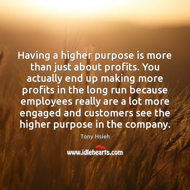 Having a higher purpose is more than just about profits. You actually Tony Hsieh Picture Quote