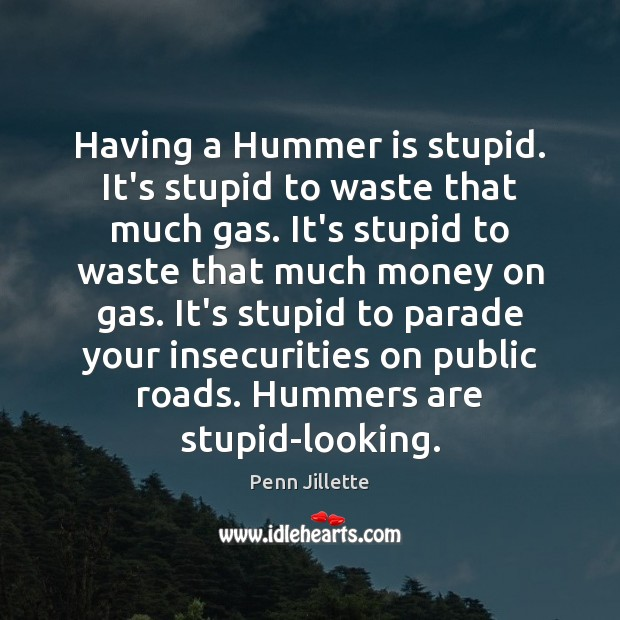 Having a Hummer is stupid. It's stupid to waste that much gas. Image