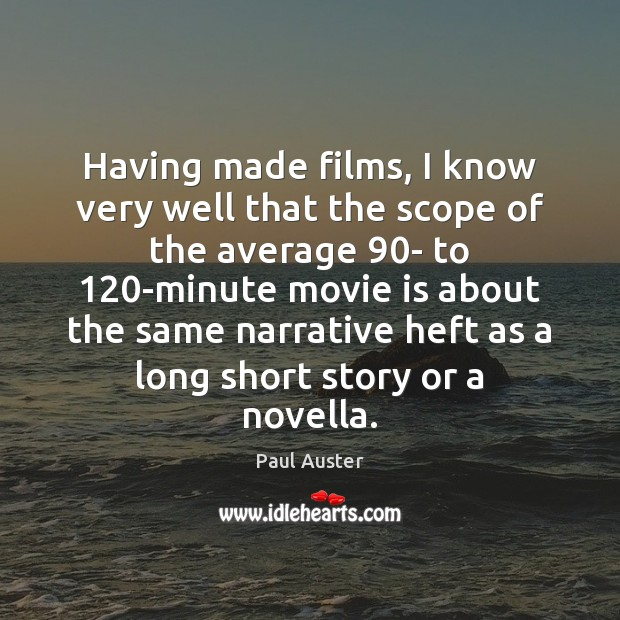 Having made films, I know very well that the scope of the Image
