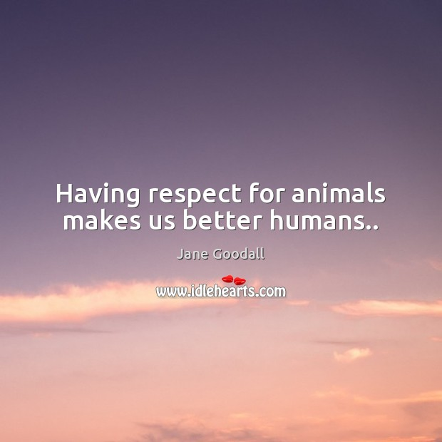 Having respect for animals makes us better humans.. Jane Goodall Picture Quote