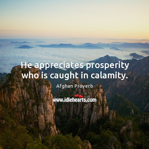 Image, He appreciates prosperity who is caught in calamity.