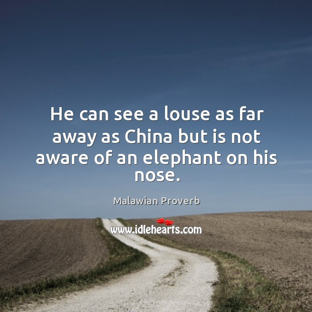 He can see a louse as far away as china but is not aware of an elephant on his nose. Malawian Proverbs Image