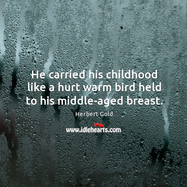 He carried his childhood like a hurt warm bird held to his middle-aged breast. Image