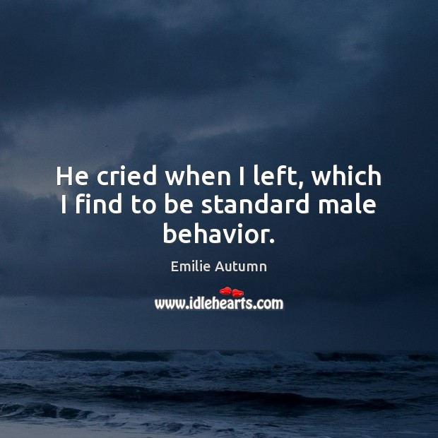 He cried when I left, which I find to be standard male behavior. Image