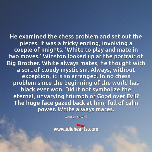 He examined the chess problem and set out the pieces. It was Image