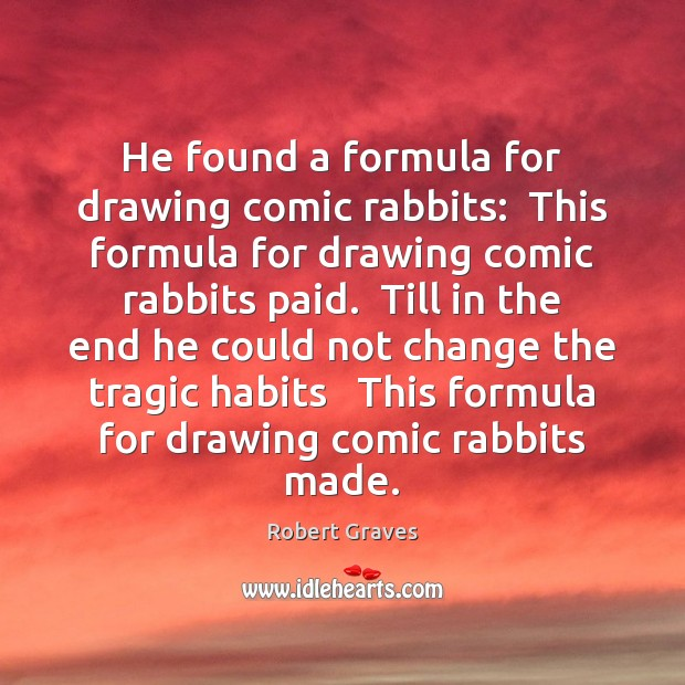 He found a formula for drawing comic rabbits:  This formula for drawing Robert Graves Picture Quote