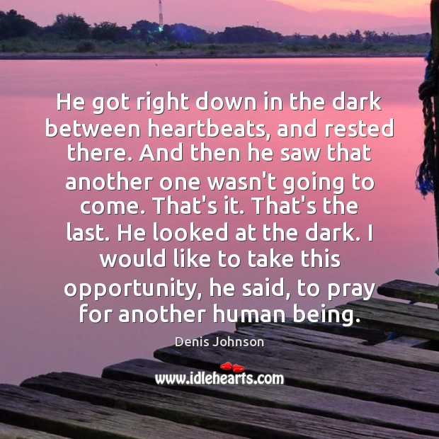 He got right down in the dark between heartbeats, and rested there. Denis Johnson Picture Quote