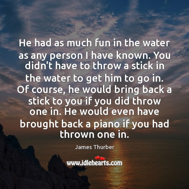 He had as much fun in the water as any person I James Thurber Picture Quote